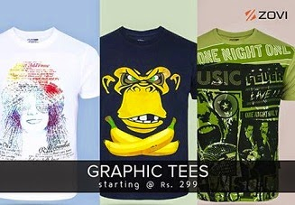Rarely Repeated Offer: Buy 3 Graphics Round Neck T-Shirts worth Rs.897 for Rs.502 Only @ Zovi (Hurry!! Limited Period Offer)