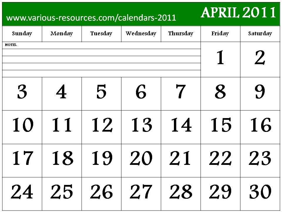 printable calendars for april 2011. Free Printable April 2011