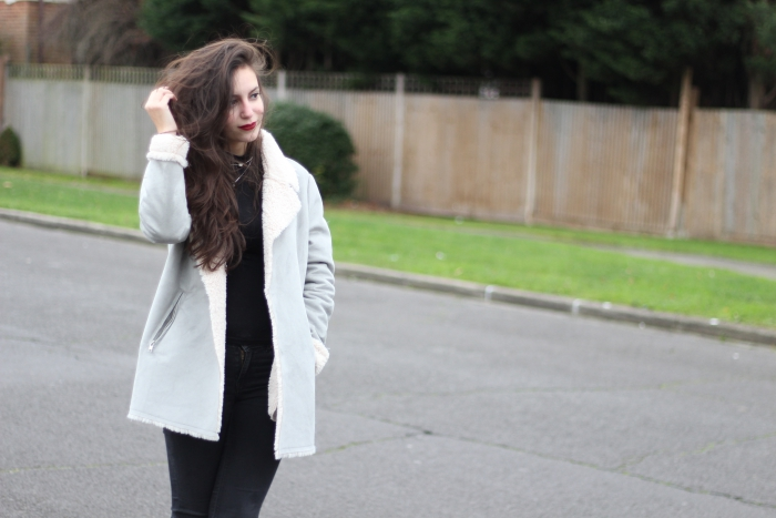 Grey Suede Shearling Coat Oversized New Look