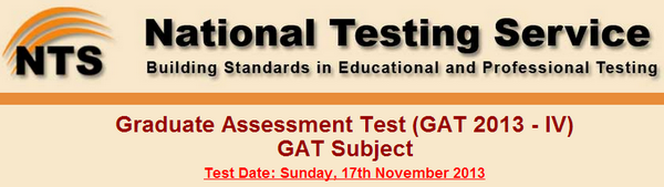 NTS GAT Subject TEST 17th November 2013 Submission of Registration Form, Test Date, Datasheet