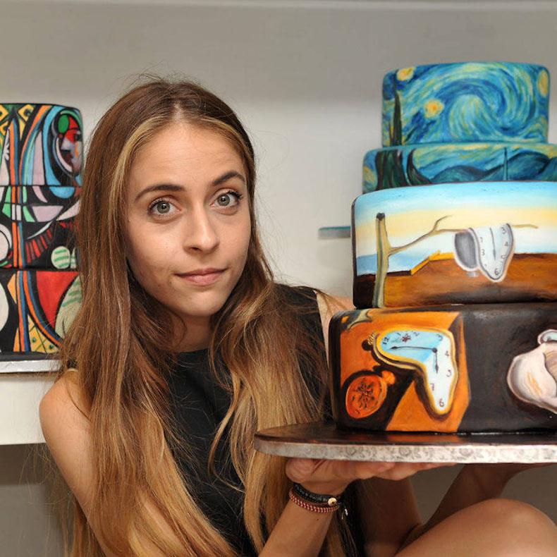 Pinturas famosas recreados sobre pasteles por Maria A. Aristidou
