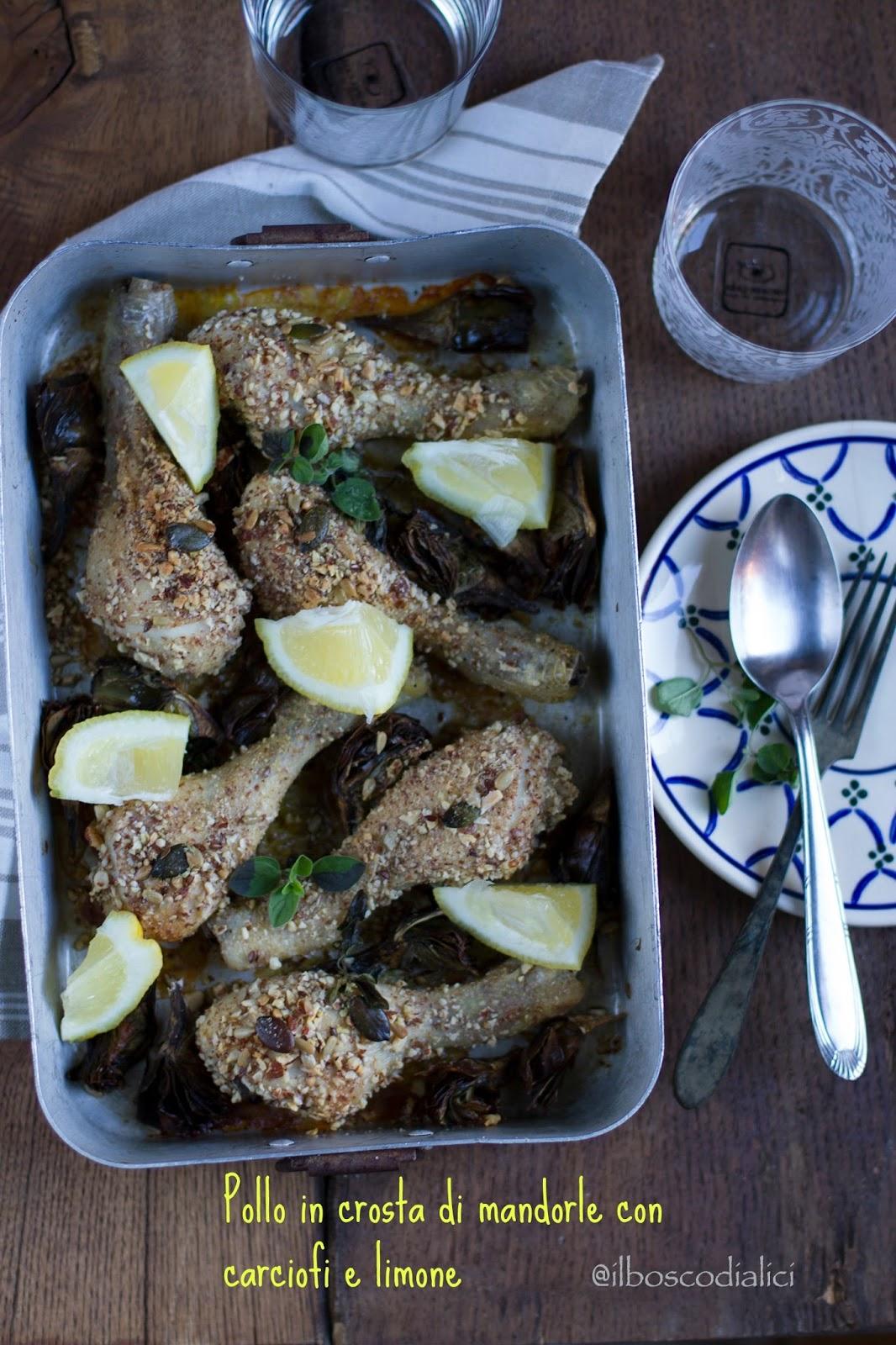 pollo in crosta di mandorle con carciofi e limone