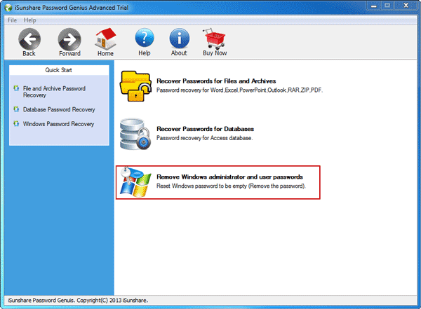 choose option for windows server password recovery