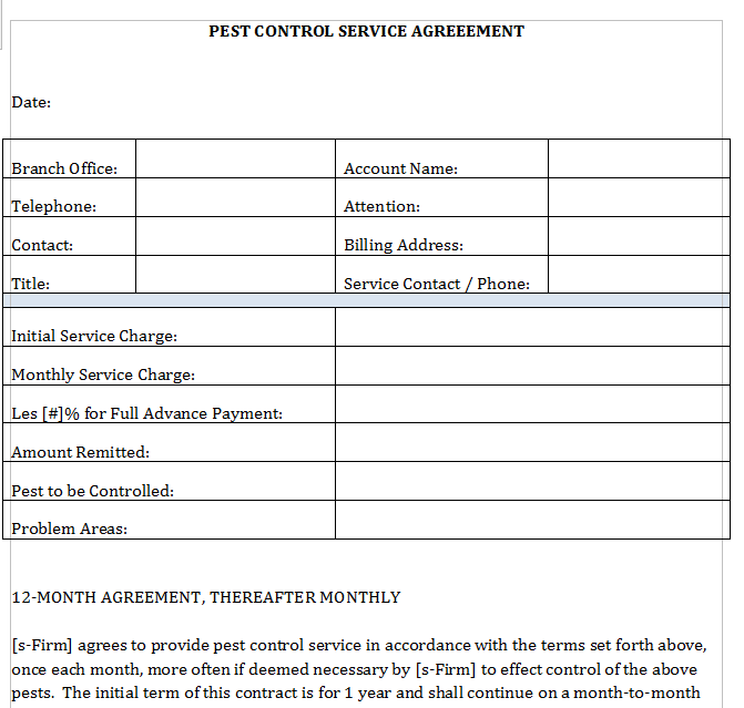 Pest Control Service Agreement Letter Template Any Professional Help