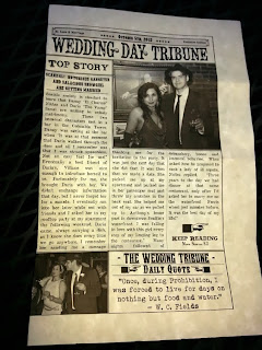 Wedding Day Tribune headline:  Danny to wed Daria!  Ceremony celebrated by Kent Buttars, A Heavenly Ceremony