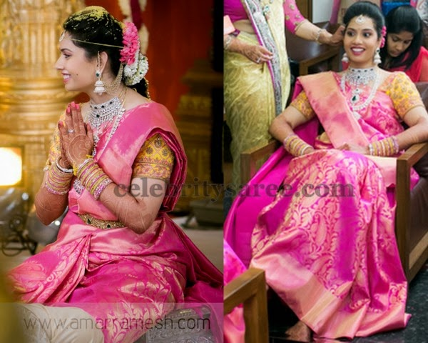 Bride in Fuchsia Pink Wedding Saree