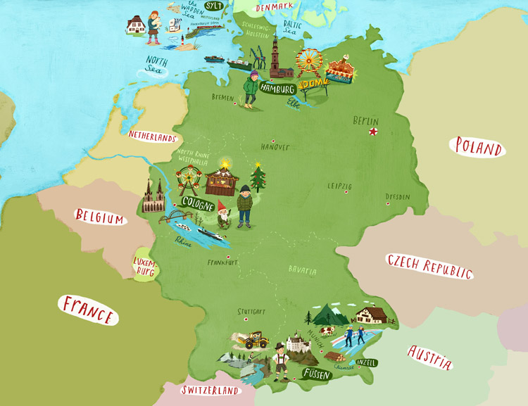Christiane Engel Scrapbook New Work Maps For Childled BBC - Germany map cartoon