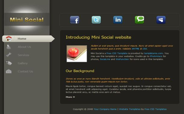 free black social networking css website template