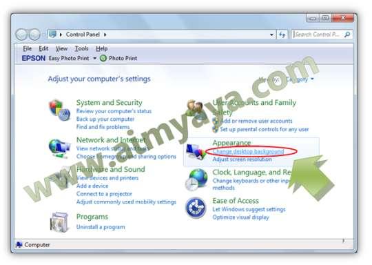 Gambar: Mengakses control panel windows untuk mengatur latar belakang Desktop