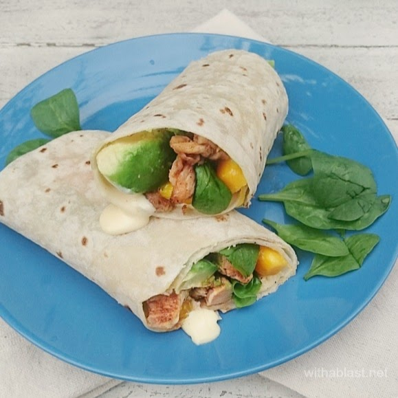 Chicken Avocado Wraps with Chili Mayonnaise ~ Delicious & juicy Wraps filled with Chicken, Avocado, Mango .. and a Chili Mayonnaise which is very kid-friendly ! {ps: use leftover Chicken for a quick lunch or light dinner in these Wraps!}