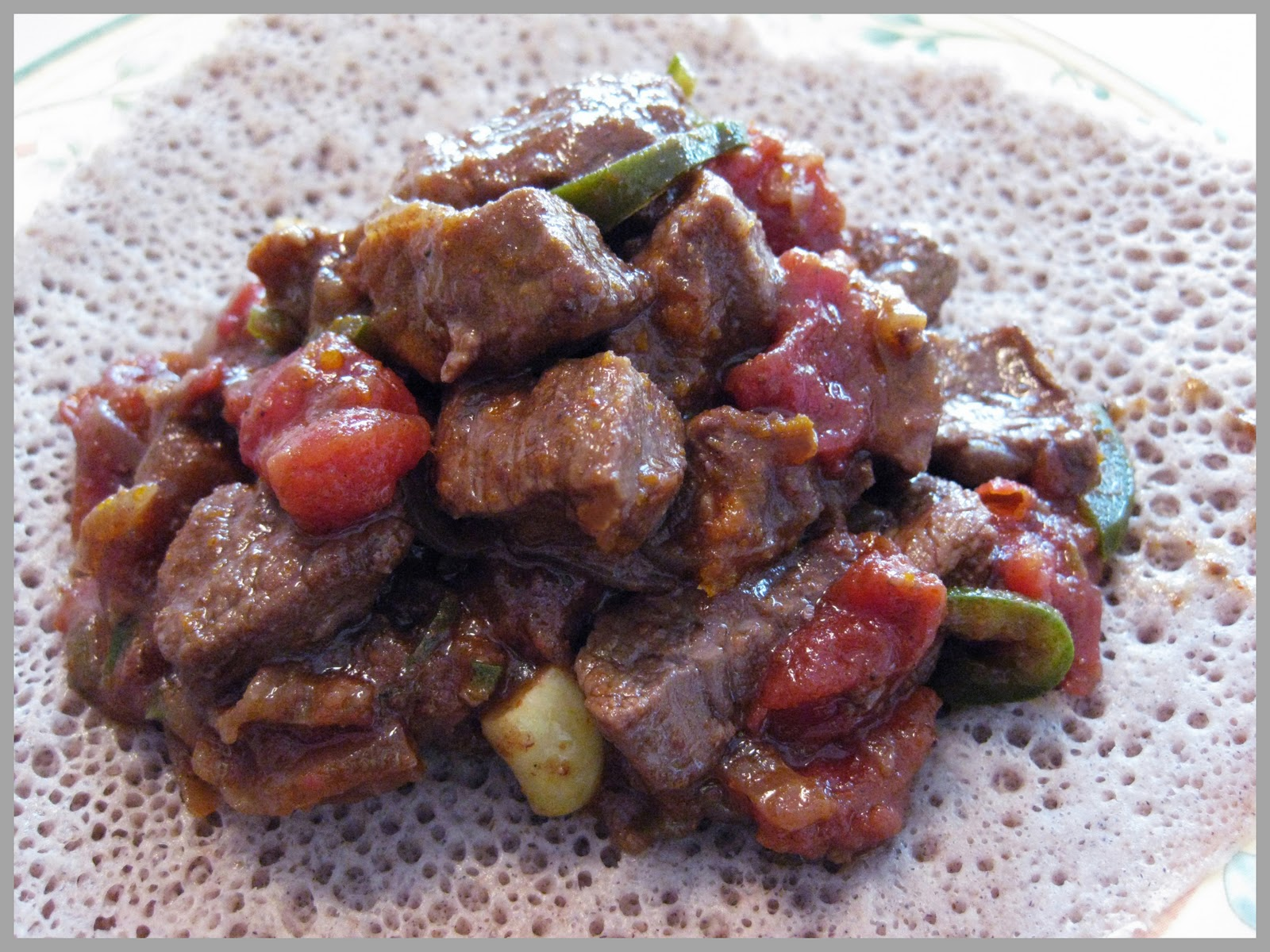 beef tibs wett served with injera