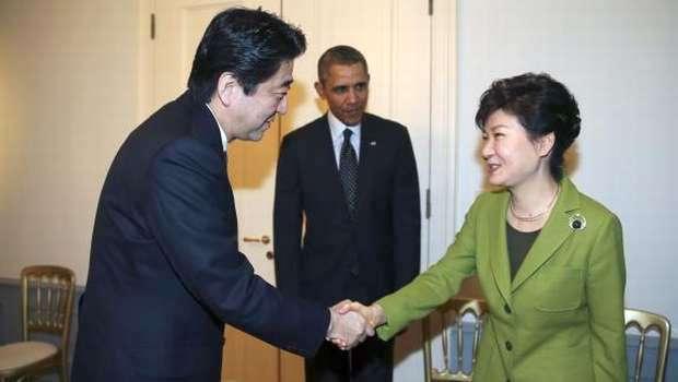 Park Geun-hye con Shinzo Abe y Barack Obama