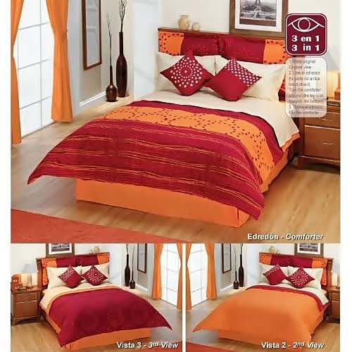 Red Orange Comforter Sheets Bedding Set Full 10 Pcs