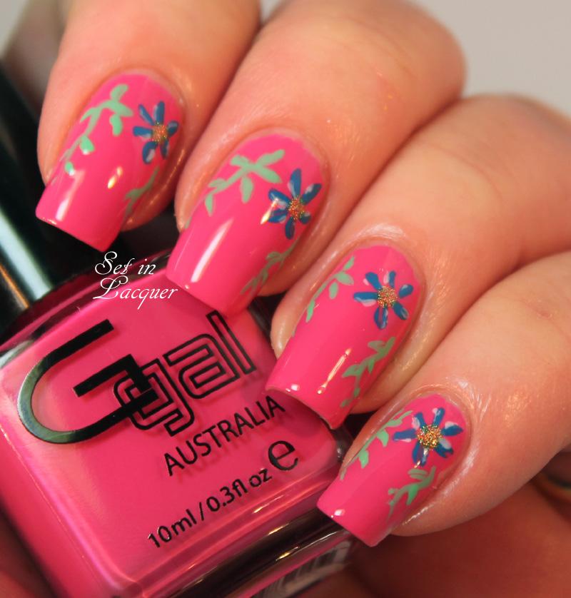 Glitter Gal Floral Nail Art