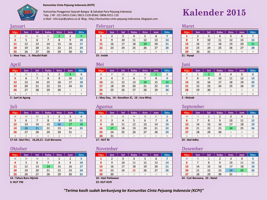 ... , Komunitas Cinta Pejuang indonesia (KCPI): Kalender KCPI Tahun 2015