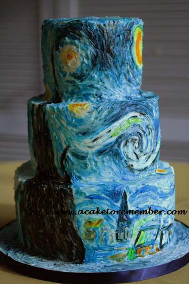 A Starry Night Cake - Wedding Cake Richmond Va