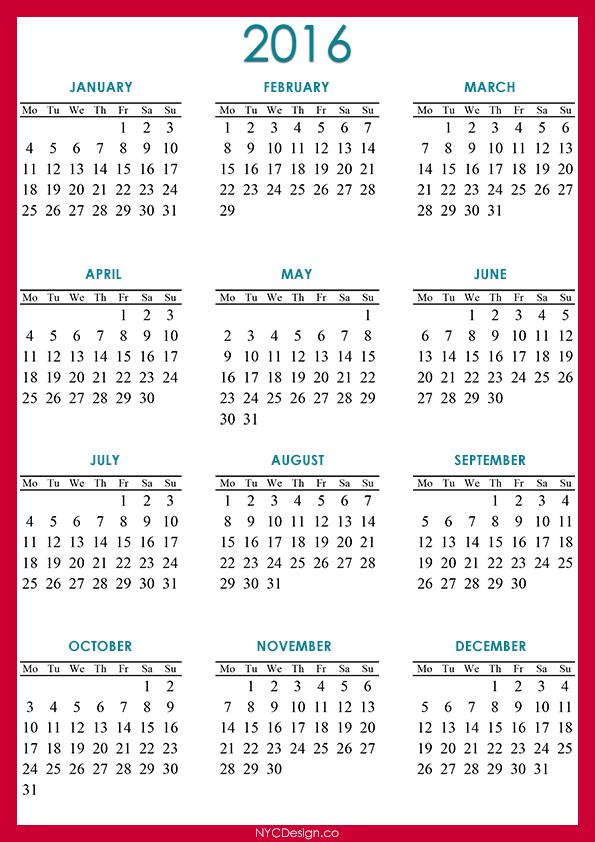 2016 Calendar Printable - Pink - Red , Blue, White