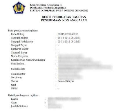 Bukti Pembuatan Kode Billing MPN G2
