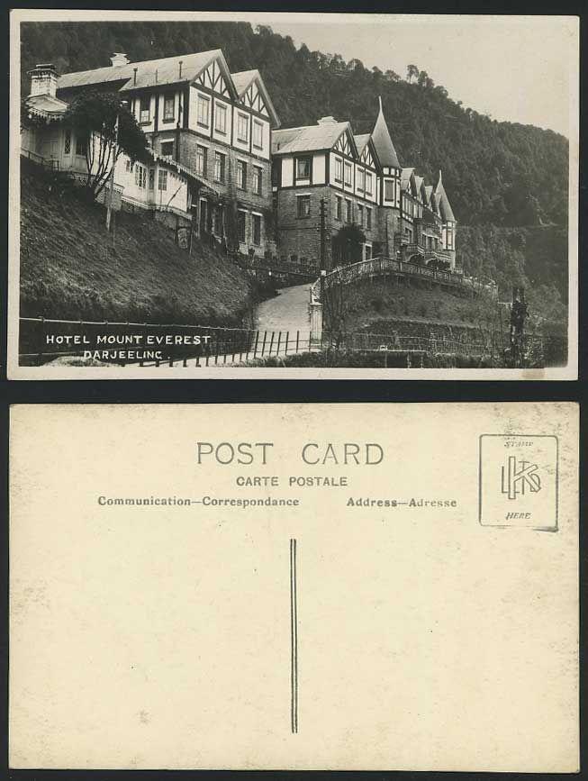 A vintage postcard of the Mount Everest Hotel in Darjeeling, India.
