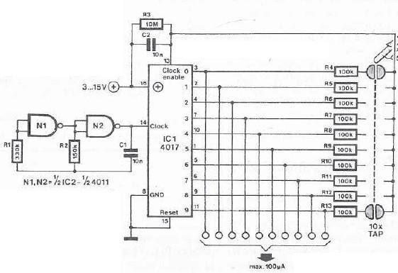 Commutateur de capteur tactile 10 canaux for Porte logique and cmos