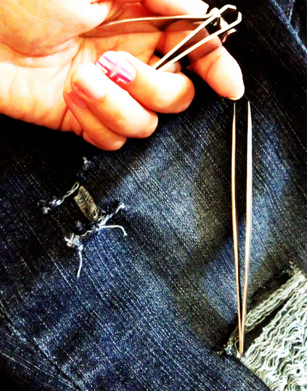 how to cut up jeans with scissors