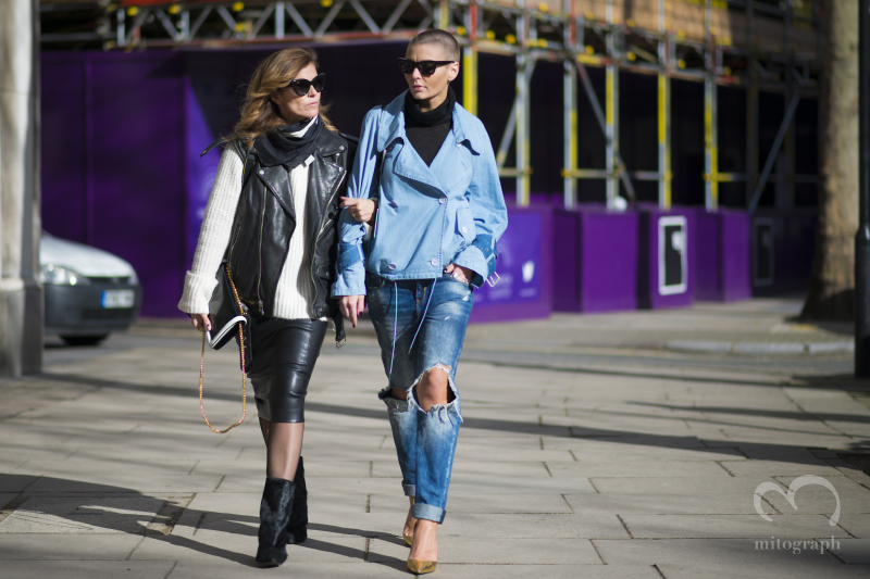 Blogger Janka Polliani and Marie Ullevoldsater leave Somersethouse during London Fashion Week 2014 Fall Winter LFW