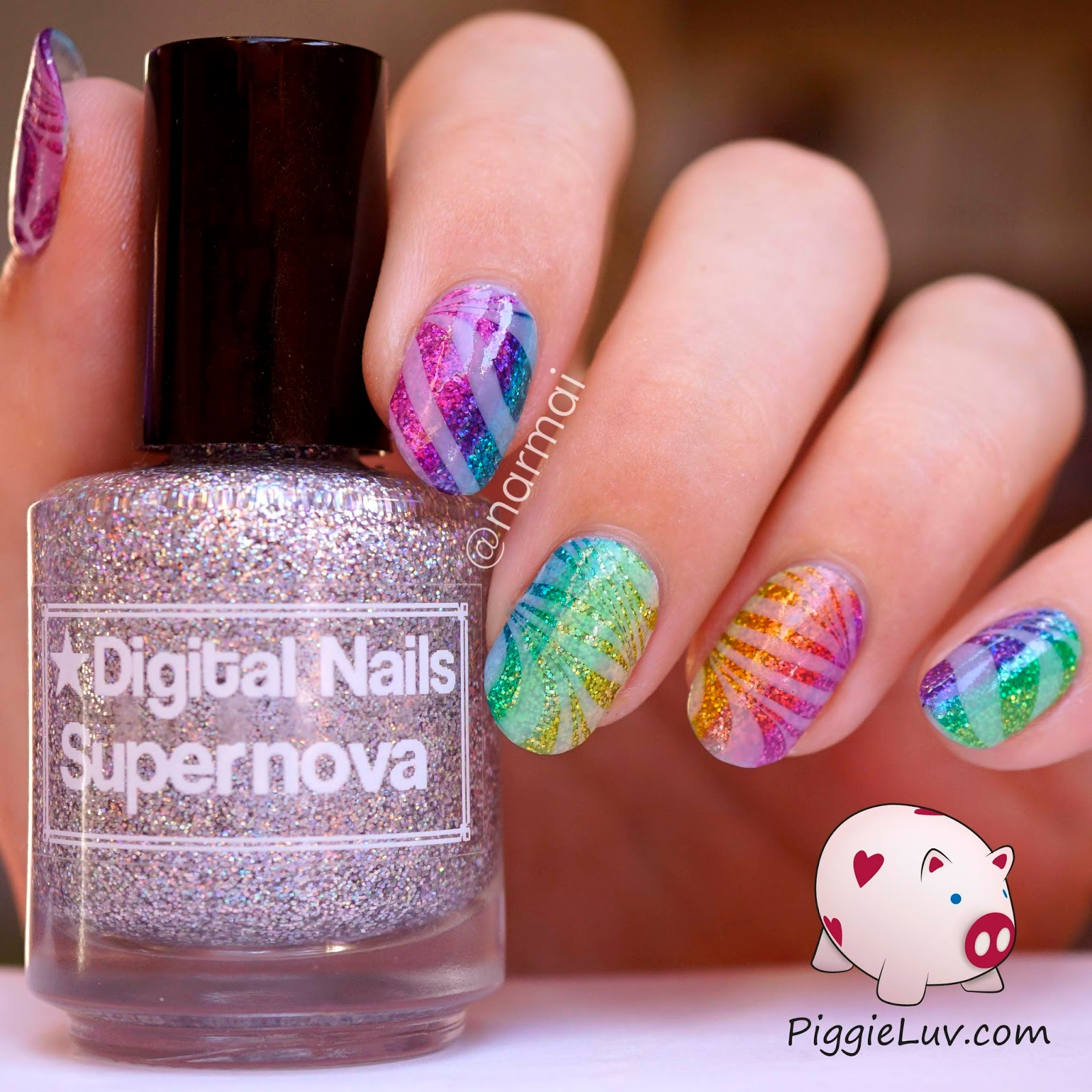 Piggieluv Opi Color Paints Glitter Gradient With Glowy Watermarble