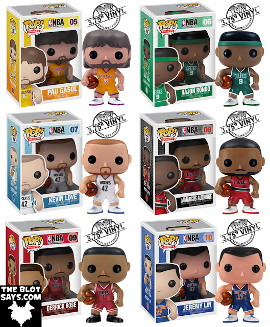 NBA Pop! Sports Vinyl Figures by Funko - Pau Gasol, Rajon Rondo, Kevin Love, Lamarcus Aldridge, Derrick Rose &amp; Jeremy Lin