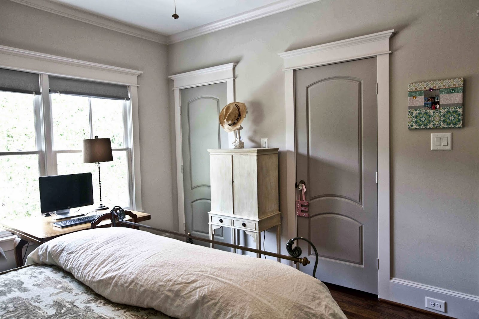 Toile bedroom cedar hill farmhouse for Painting trim darker than walls