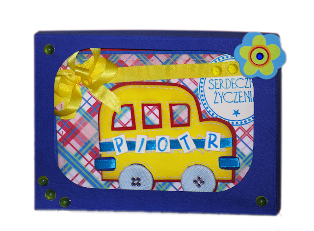 śliczna piękna nietypowa kolorowa kartka urodzinowa rękodzieło w pudełku