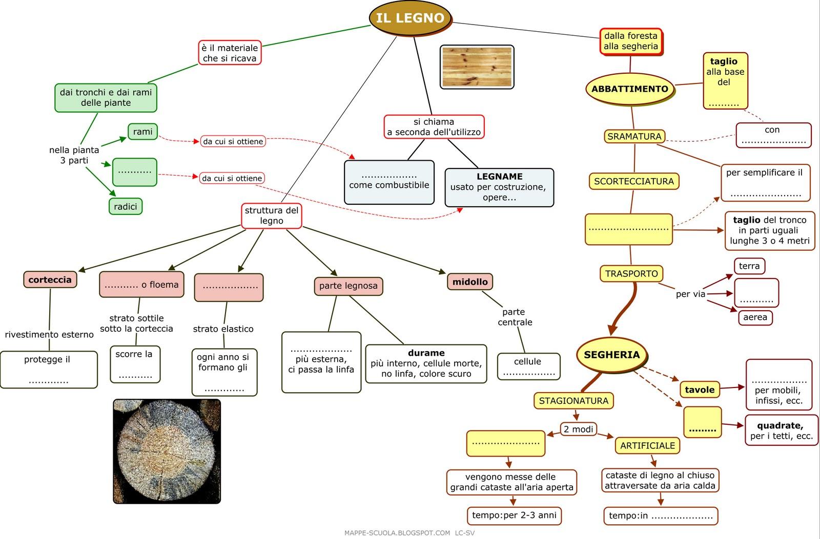 Mappe per la scuola il legno mappa concettuale tecnologia for Una pianta della casa di legno