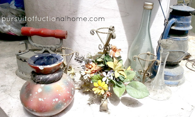 Treasure Hunting by Pursuitoffunctionalhome.com. I found an old traditional Iron, candle holder, vase, and lamp