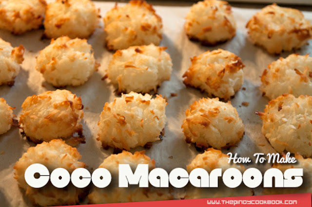 How to Make Coco Macaroons How to Bake baking Goldilocks Red Ribbon Razon Ralo Collete's Easy Cook Ingredients Secrets Recipe Desserts So What's Coco Macaroons?  Coconut Macaroons are chewy cookie like sweets that makes use of sweet shredded coconut as toppings. It is usually dipped in white chocolate to give it a richer flavor but this particular macaroon recipe is like no other. It is simple, easy, and delicious much like the ones you can purchase at well known pasalubong shops like Goldilocks and Red Ribbons. Although this is not exact recipe but I promise this is pretty close much like the original.  Making Coconut Macaroon can never be easier. There only 2 major steps that you will need to do: (1) mix all the ingredients together, and (2) bake them in a conventional oven. Once everything is done, it is time for you to enjoy your homemade Coconut Macaroons. A sure hit for kids and those pretending to be one, these awesome pieces of sweetness will surely put some smile on your children's faces. So with that brief information in mind let's start making those macaroons.  How to Make Coco Macaroons Coconut Goldilocks Style Red Ribbon Ralos Razon Don Benito Business Maccaroons Latest Secret Ingredients How to Bake Baking Cooking Desserts  How To Make Coconut Macaroons Goldilocks Style RECIPE & TUTORIAL   Ingredients we need:   14 ounces (about 400 grams) Sweet Shredded Coconut (or Desecated Coconut) 1/2 cup butter 1/2 cup brown sugar 3 pieces raw eggs 14 ounces condensed milk  Step by Step Cooking Instructions:   1.)Place the butter in a big bowl and cream using a fork 2.)Add-in the brown sugar and mix well 3.)Add the eggs and condensed milk then stir/beat until all ingredients are blended 4.)Put-in the Sweetened Shredded Coconut and distribute evenly with the other ingredient in the mixture 5.)In a mold (with paper cups if possible), place 1 tablespoon of the mixture on each of the cups 6.)Pre-heat oven at 370 degrees Fahrenheit for 10 minutes 7.)Bake the Coconut Macaroon mixture for 20 to 30 minutes or until color turns golden brown. 8.) You're done! Serve during dessert or snack time.  Cooking Video Tutorial:    Enjoyed our Coconut Macaroons Recipe? Feel free to browse more dessert recipes here at the Pinoy Cookbook.