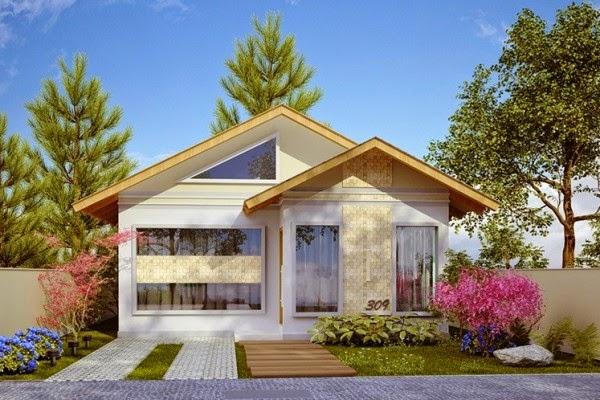 Fachada de casa pequena com 3 quartos