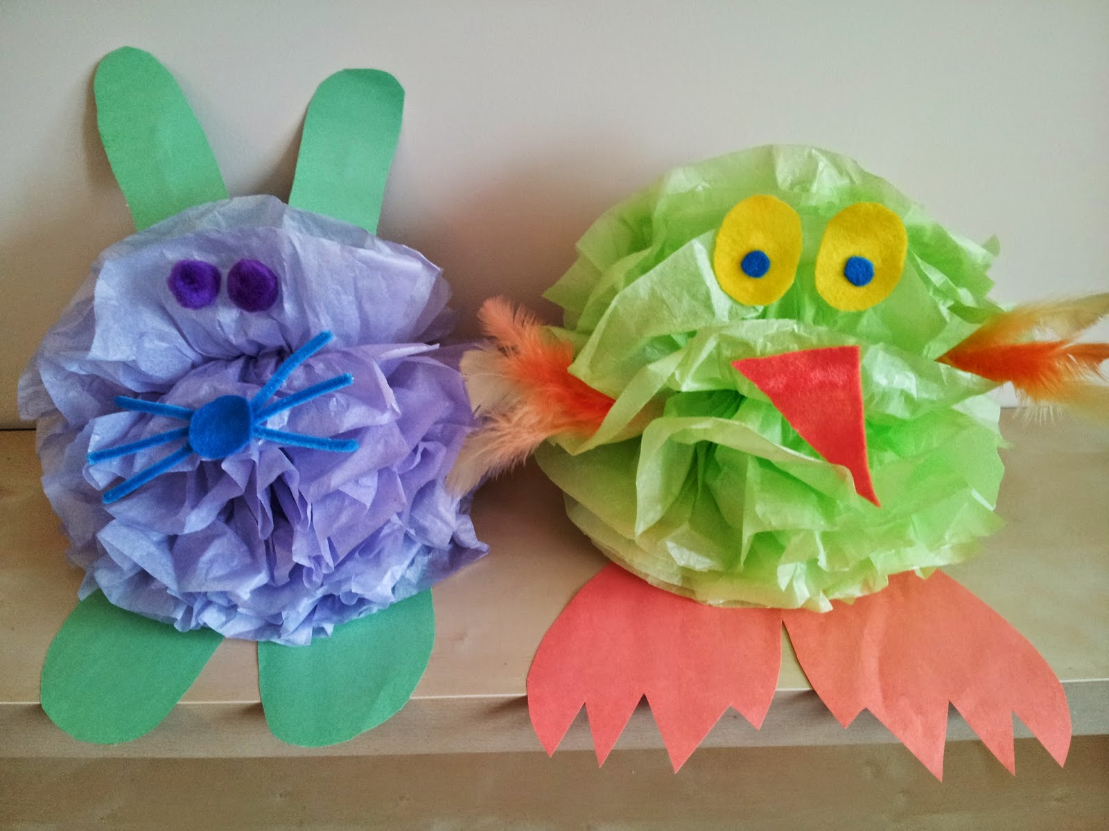 Easter chick craft, Easter bunny craft, tissue paper crafts, kids crafts