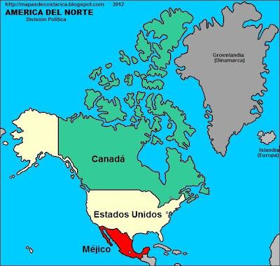 Mapa de las paises de Norteamerica
