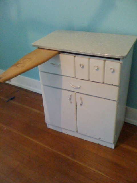 Artifact vintage metal cabinet with formica top for Antique metal kitchen cabinets