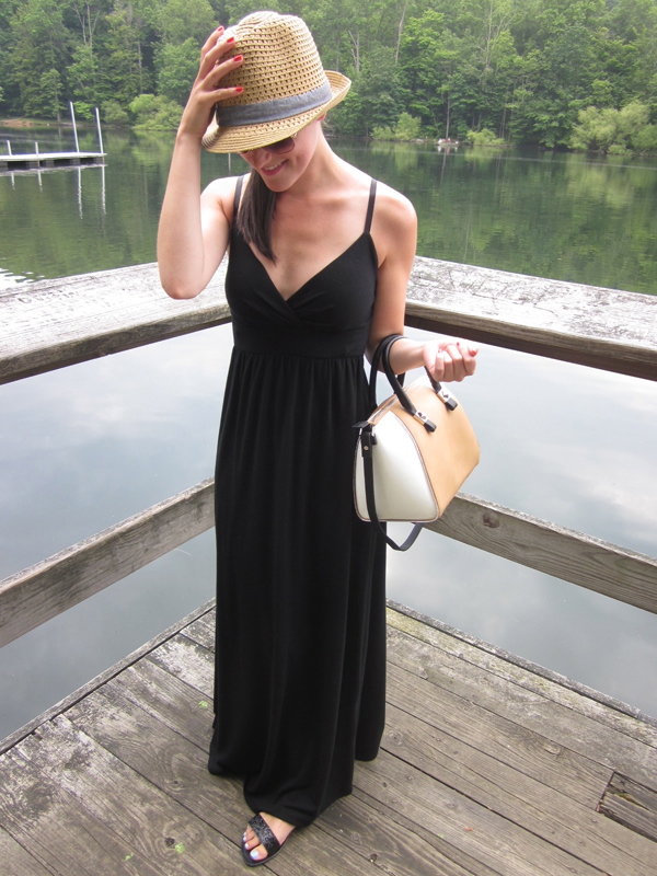 black maxi dress, color blocked bag, bowling bag, fedora