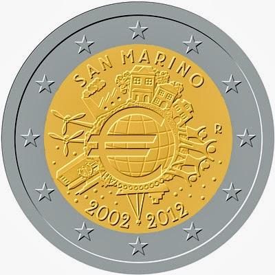 2 euro San Marino 2012, Anniversary of Euro coins and banknotes