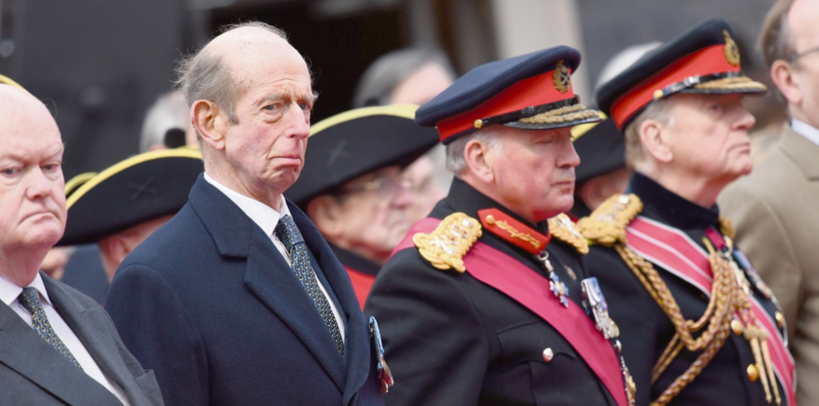 The Duke of Kent attending the Freemasons VC Memorial unveiling event outside the Freemasons' Hall