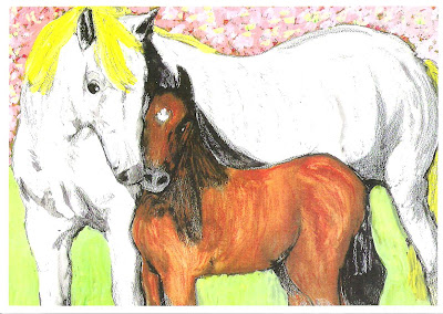 White Horse and Brown Pony pic