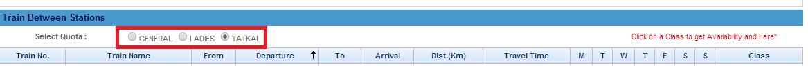 IRCTC Tatkal Ticket Booking