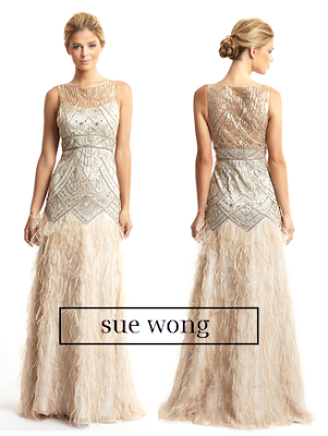 sue wong, bridal, champagne dress, beaded dress