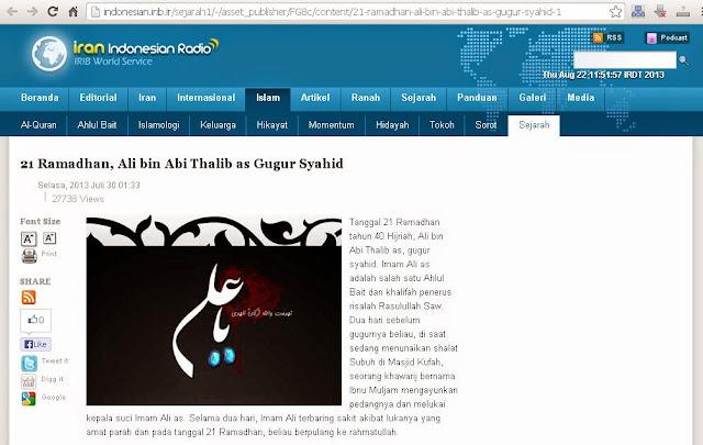 Syiah Mengaku Syiah Khawarij Bunuh Ali