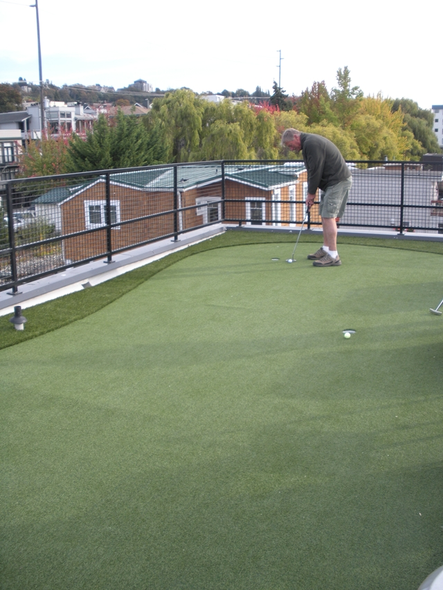 Photo of mini golf terrain on the roof of floating home