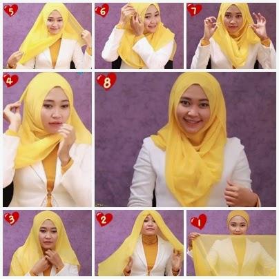 cara memakai jilbab segiempat elzatta