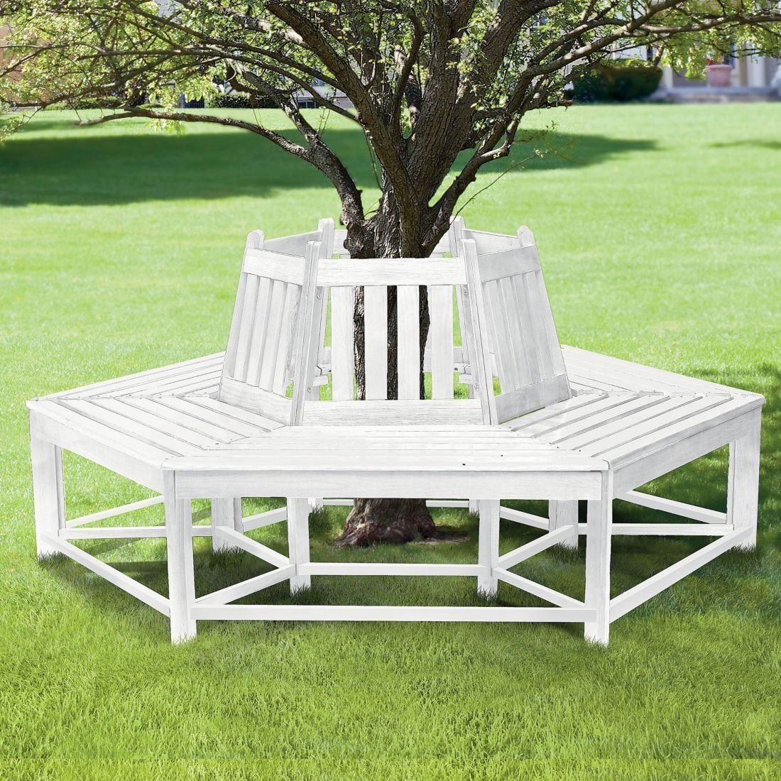 Circle Tree Bench ~ White tree seat ironstone cottage