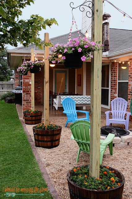 diy patio redo with texas lamp posts