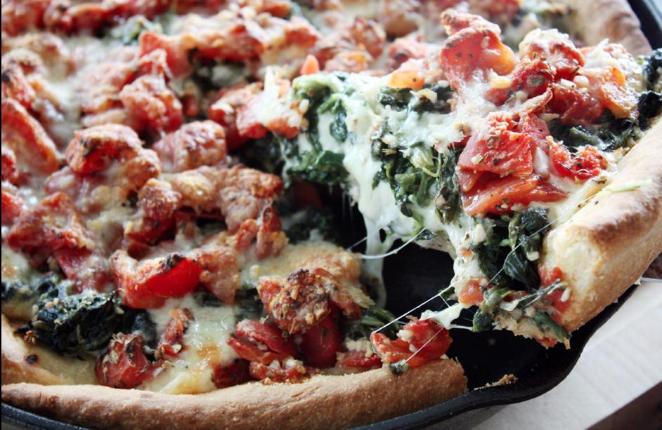 Deep Dish Spinach and Tomato Pizza Recipe