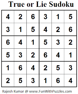 True or Lie Sudoku (Mini Sudoku Series #42) Solution